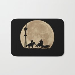 Rustler's Moon, Cowboys Roping Country Western Moon and Windmill Bath Mat