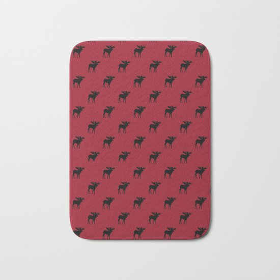 Bull Moose Silhouette - Black on Red Bath Mat
