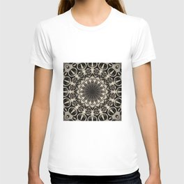 Neutral Abstract Black Ink Bohemian Mandala T-shirt