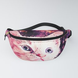 cute white stare gaze kitty splatter watercolor Fanny Pack