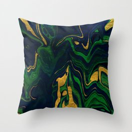 Rhapsody in Blue and Green and Gold Throw Pillow