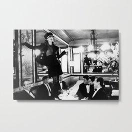Kate Moss 'Brasserie Lipp' Fashion Wall Art Print - 90s Super Model Pin Up Poster - Wall Decor Metal Print