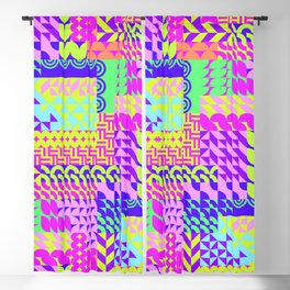 Colorful pink teal yellow abstract geometrical pattern Blackout Curtain