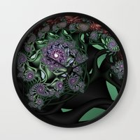 novelty Wall Clocks featuring Lilac Fractal Garden by Moody Muse
