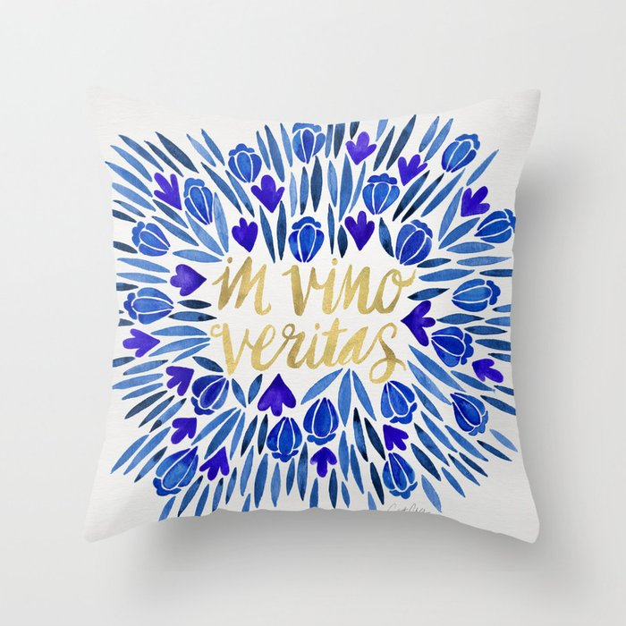 In Wine There Is Truth Navy Gold Throw Pillow By Catcoq Society6
