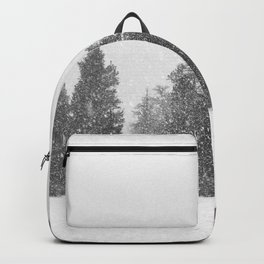 Snow Days // Snowy Tree Black and White Winter Landscape Photography Ski Snowboard Woods Wall Decor Backpack