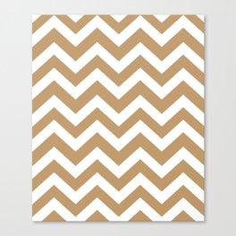 Wood brown - brown color - Zigzag Chevron Pattern Canvas Print