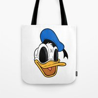 donald duck Tote Bags featuring Donald Duck the Creep by Daniel Hannih