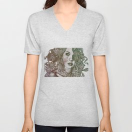Wake: Autumn (street art woman with maple leaves tattoo) Unisex V-Neck