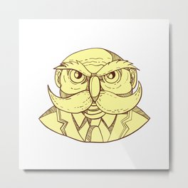 Angry Owl Man Mustache Doodle Color Metal Print