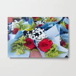 Red rose flower bouquet Metal Print