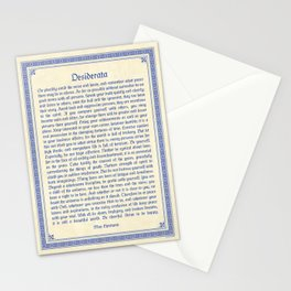 The Desiderata, blue Stationery Cards