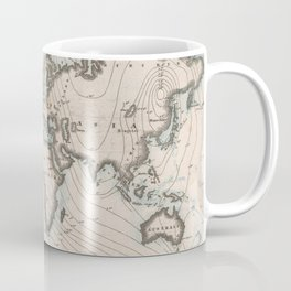 Vintage Map of The Worlds Magnetic Fields (1852) Coffee Mug