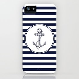 Anchor and Navy Blue Stripes iPhone Case
