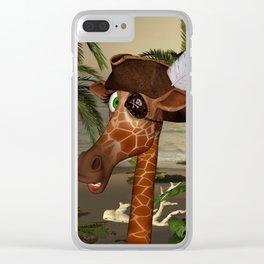 Cute, funny pirate giraffe Clear iPhone Case