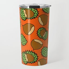 Chestnut and Chestnut Cupule Pattern Travel Mug