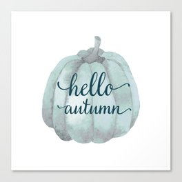 Hello autumn- blue pumpkin white background Canvas Print