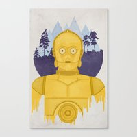 c3po Canvas Prints featuring C3PO by Robert Scheribel