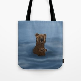 Grizzly Bear Mama and Her Cub Swimming Tote Bag