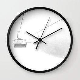 4 Seat Chair Lift Deep Snow B&W Wall Clock