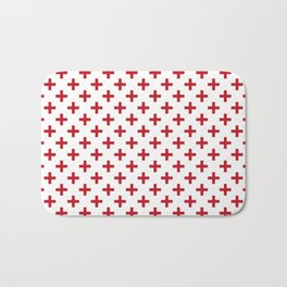 Criss Cross | Plus Sign | Red and White Bath Mat