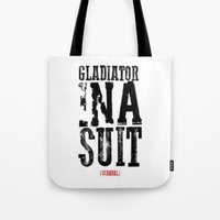 gladiator Tote Bags featuring Gladiator in a suit  by Luxe Glam Decor