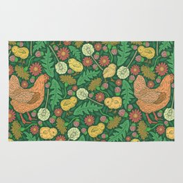 Orange hen with yellow chickens and dandelions on green background Rug