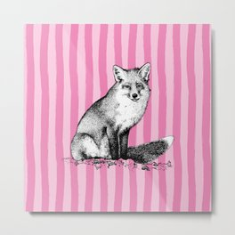 Vintage Fox on Preppy Pink Cabana Stripes Metal Print