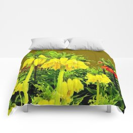 YELLOW CROWN IMPERIAL WATERCOLOR  FLOWERS Comforters