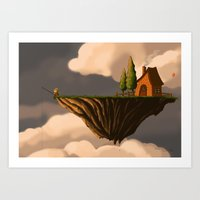 Fishing in the Clouds Art Print