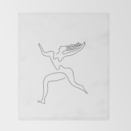 One line Picasso variant (with hair) Throw Blanket