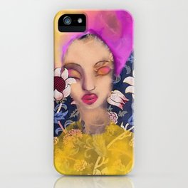 Enchanted Garden Romantic Floral Art Nouveau Watercolor Portrait iPhone Case
