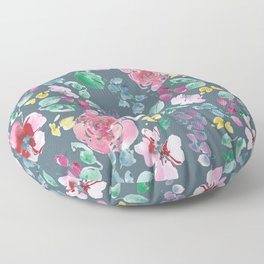 Pink Flowers on Gray Floor Pillow