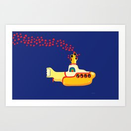Yellow Submarine Bubbling Love Art Print
