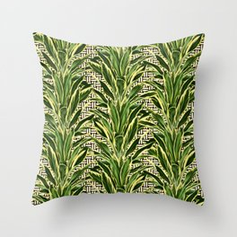 Palms on Stitch Pattern - Black White Gold Throw Pillow