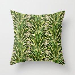 Geometric Palm Leaf Pattern - Black White Gold Throw Pillow