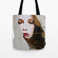 literary Tote Bags featuring Literary Girl by Charlotte Massey