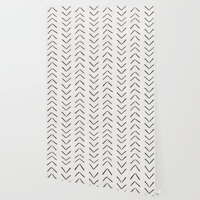 Mud Cloth Big Arrows in Cream Wallpaper