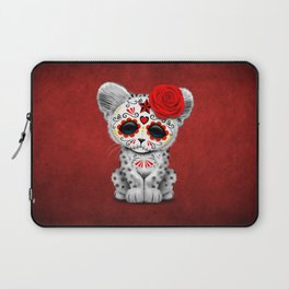 Red Day of the Dead Sugar Skull Snow Leopard Cub Laptop Sleeve