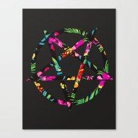 pentagram Canvas Prints featuring Pentagram by YEAH RAD STOKED