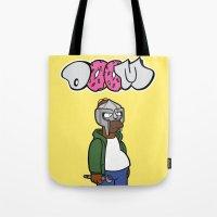 sofa Tote Bags featuring Sofa King by n3rdeye