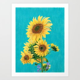 Sunflowers & Friends Art Print