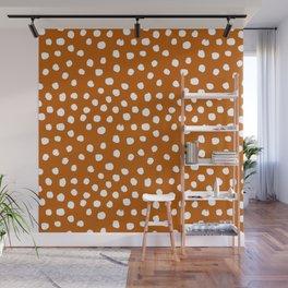 Texan texas longhorns orange and white university college football dots Wall Mural