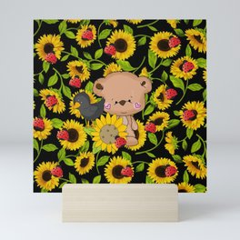 Sunflowers Bear And Black Crow Ladybugs Mini Art Print