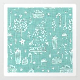 Santa Workshop Blue Art Print