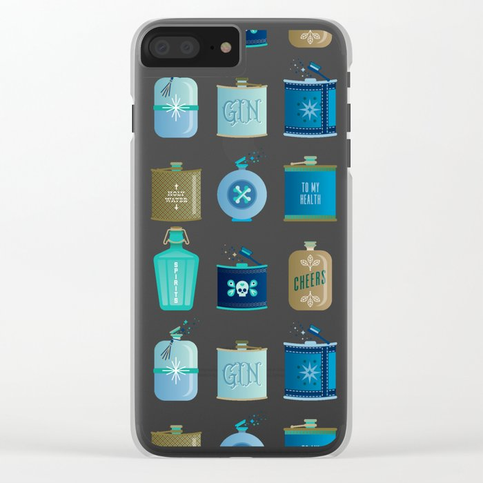 Flask Collection – Blue and Tan Palette Clear iPhone Case