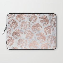 Boho rose gold floral paisley mandala elephants illustration white marble pattern Laptop Sleeve