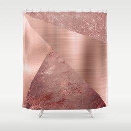 Rose Gold Mixed Texture Geometric Pattern Glitter Foil Sparkle Shower Curtain