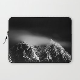 Black and white long exposure of clouds above mountain Laptop Sleeve