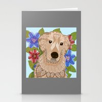 golden retriever Stationery Cards featuring Golden Retriever by ArtLovePassion